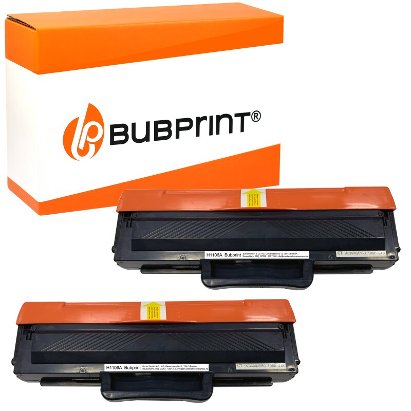 Bubprint 2 Toner kompatibel für HP 106A W1106A MIT CHIP Schwarz