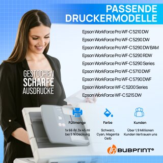 Bubprint 4 Druckerpatronen T9441 T9442 T9443 T9444 L kompatibel für Epson WorkForce Pro WF-C5210DW WF-C5290DW Neue Chip Version