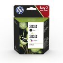 ORIGINAL HP Multipack Schwarz / mehrere Farben 3YM92AE 303 2 Tintenpatronen HP 303: T6N02AE + T6N01AE