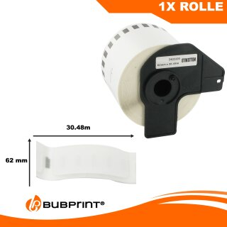 Bubprint Etiketten kompatibel für Brother DK-22205 #2205 62mm x 30,48m