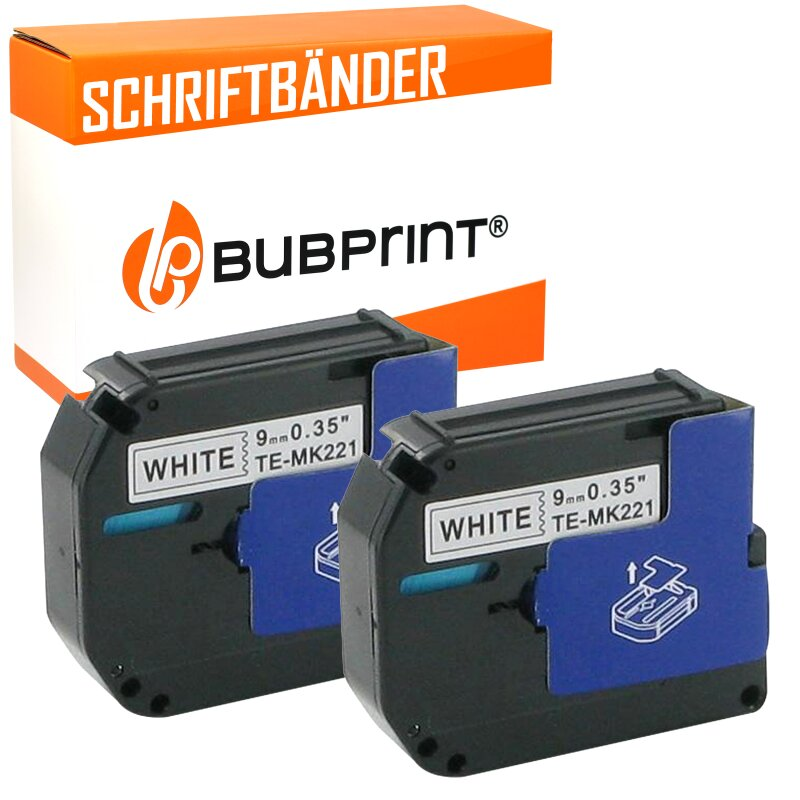 Bubprint 2x Schriftband kompatibel für Brother MK-221 black/white 9mm x 8m SET