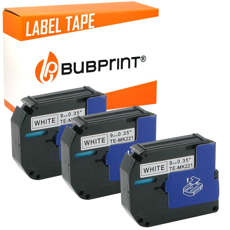 Bubprint 3x Schriftband kompatibel für Brother MK-221 black/white 9mm 8m SET