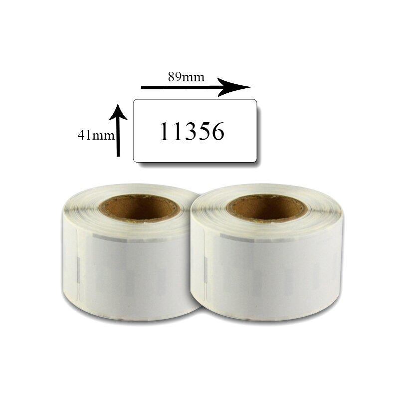 Bubprint 2x Etiketten kompatibel für Dymo 11356 S0722560 89x41mm, weiss SET