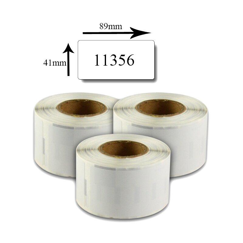 Bubprint 3x Etiketten kompatibel für Dymo 11356 S0722560 89x41mm, weiss SET