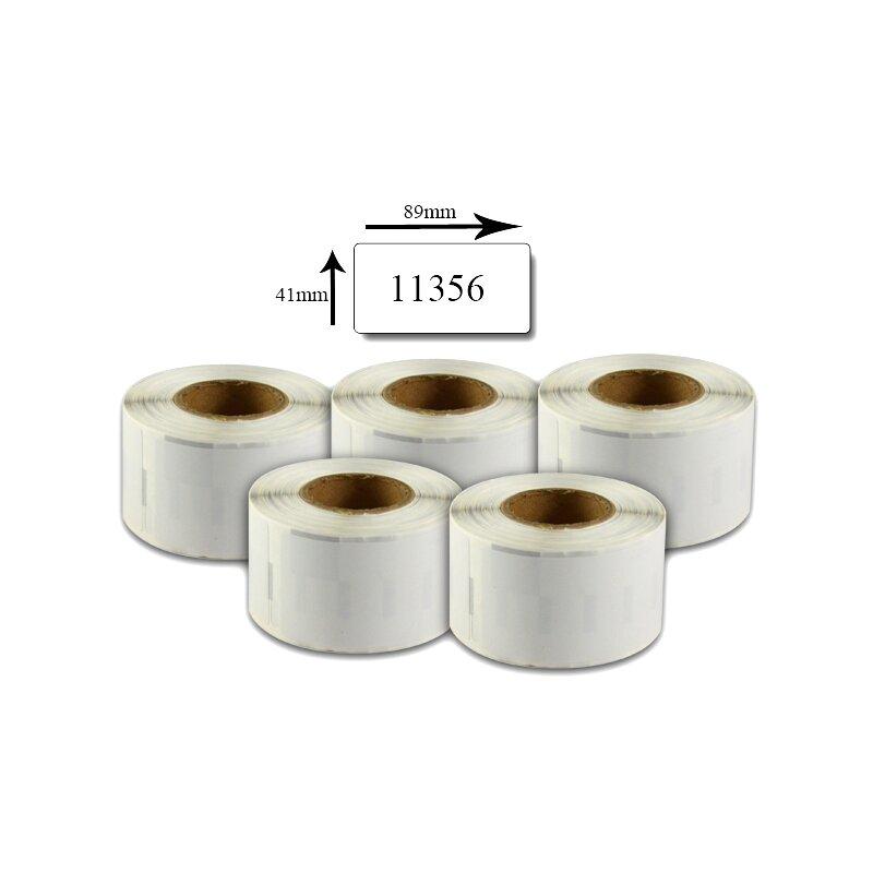Bubprint 5x Etiketten kompatibel für Dymo 11356 S0722560 89x41mm, weiss SET
