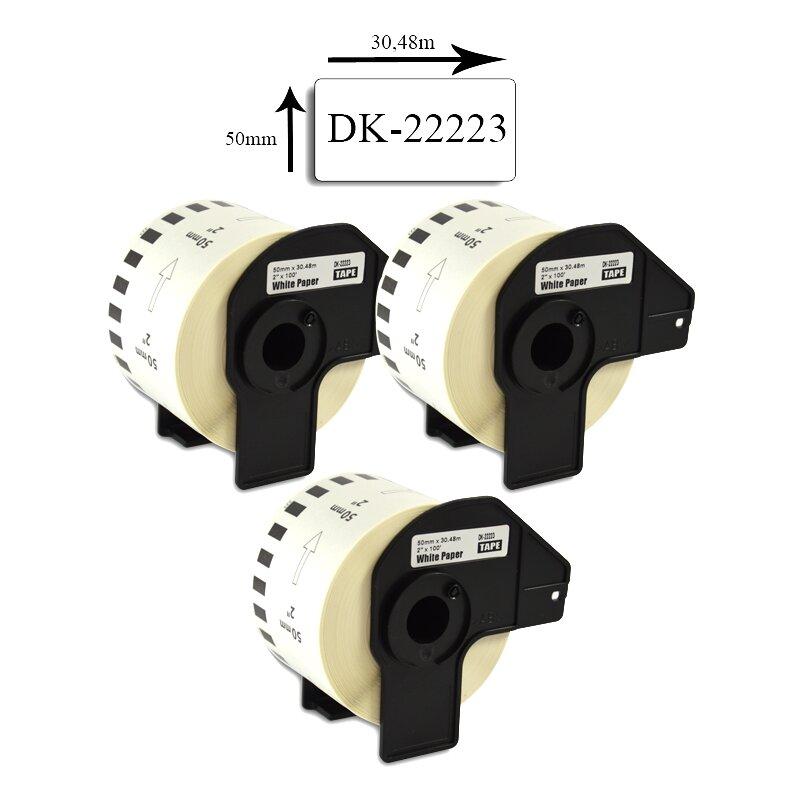 Bubprint 3x Etiketten kompatibel für Brother DK-22223 50mm x 30,48m SET