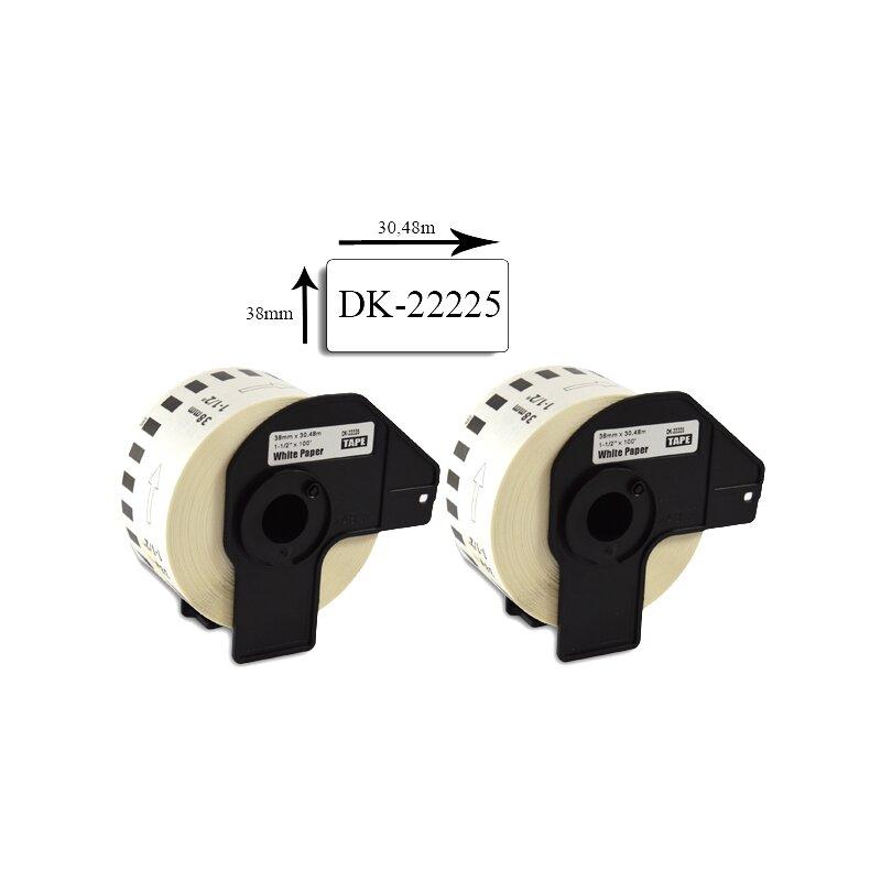 Bubprint 2x Etiketten kompatibel für Brother DK-22225 38mm x 30,48m SET