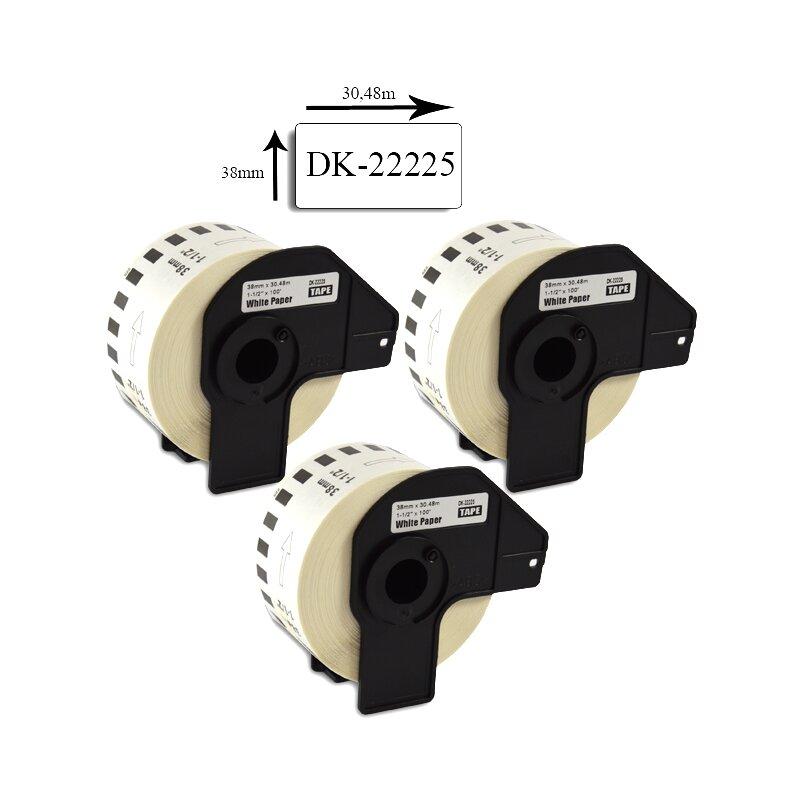 Bubprint 3x Etiketten kompatibel für Brother DK-22225 38mm x 30,48m SET
