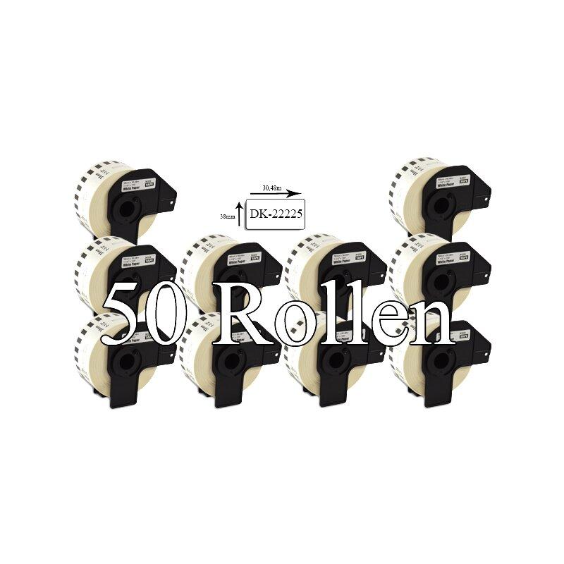 Bubprint 50x Etiketten kompatibel für Brother DK-22225 38mm x 30,48m SET
