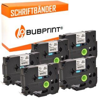 Bubprint 5x Schriftband kompatibel für Brother TZe241 TZe-241 bk/white 18mm SET