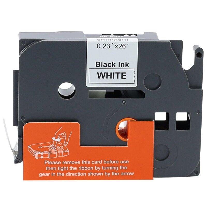 Bubprint Schriftband kompatibel für Brother TZe-211 TZe211 schwarz auf weiss 6mm x 8m
