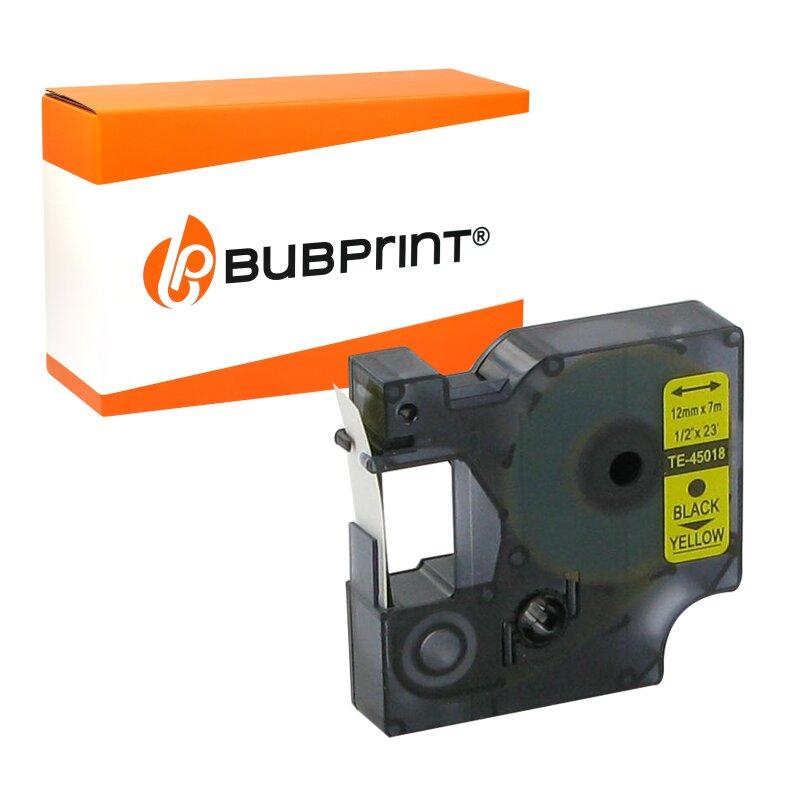 Bubprint Schriftband Kassette kompatibel für Dymo 45018 S0720580 Labelpoint Labelmanager 150 100 210D 280 160 450 100 Etikettenband D1 12mm x 7m schwarz auf gelb