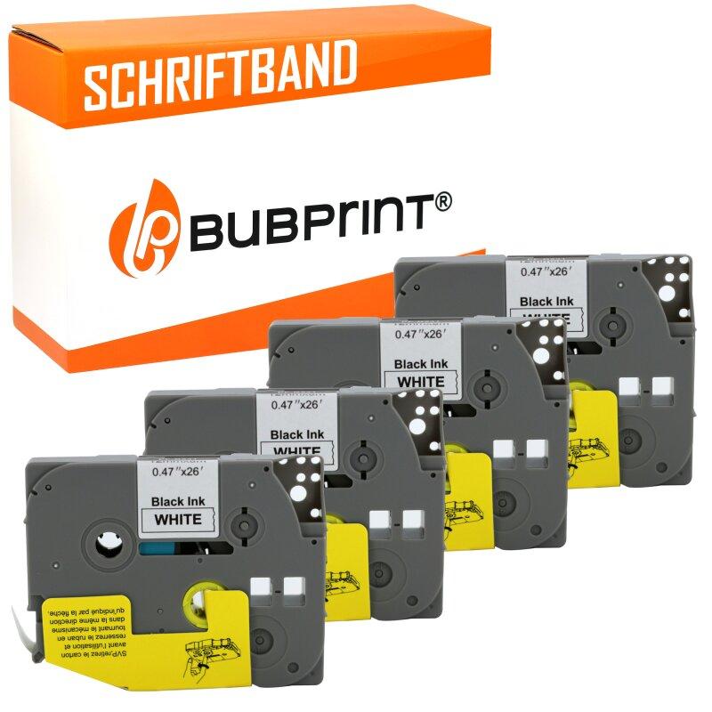 Bubprint 4x Schriftband kompatibel für Brother TZe231 TZe-231 schwarz/weiß 12mm 8m