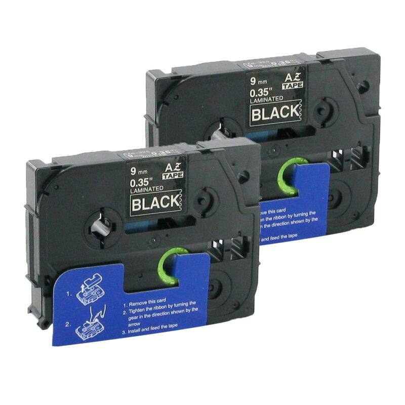 Bubprint 2x Schriftband kompatibel für Brother TZe-325 TZe325 white/black 9mm SET