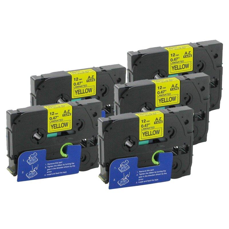 Bubprint 5x Schriftband kompatibel für Brother TZe-631 TZe631 bk/yellow 12mm SET
