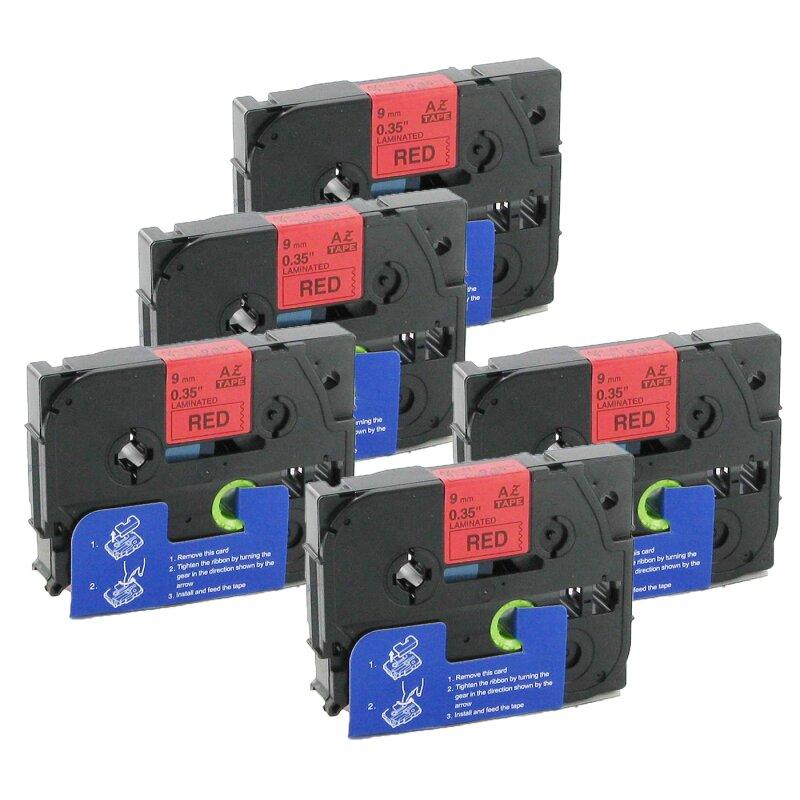 Bubprint 5x Schriftband kompatibel für Brother TZe-421 TZe421 Schwarz/Rot 9mm SET
