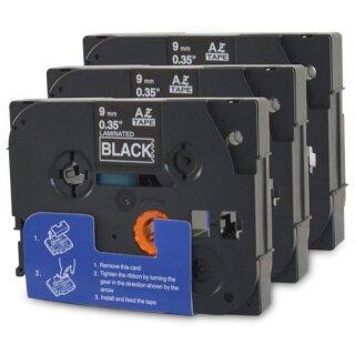Bubprint 3x Schriftband kompatibel für Brother TZe-325 TZe325 white/black 9mm SET