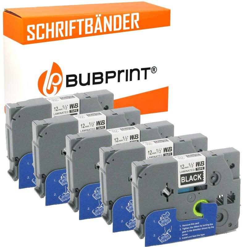 Bubprint 5x Schriftband kompatibel für Brother TZe-335 TZe335 white/bk 12mm SET