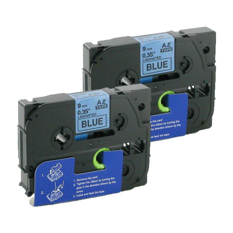 Bubprint 2x Schriftbänder kompatibel für Brother TZe-521 TZe521 schwarz auf blau 9mm SET