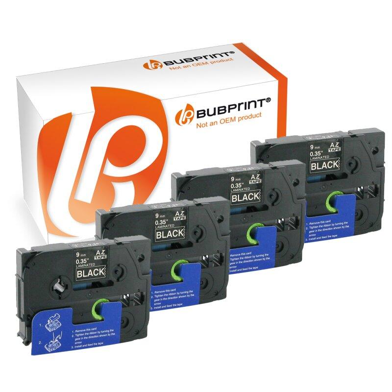 Bubprint 4x Schriftbänder kompatibel für Brother TZe-325 TZe325 weiß auf schwarz 9mm SET