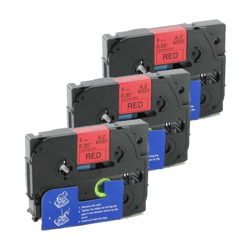 Bubprint 3x Schriftband kompatibel für Brother TZe-421 TZe421 Schwarz/Rot 9mm SET