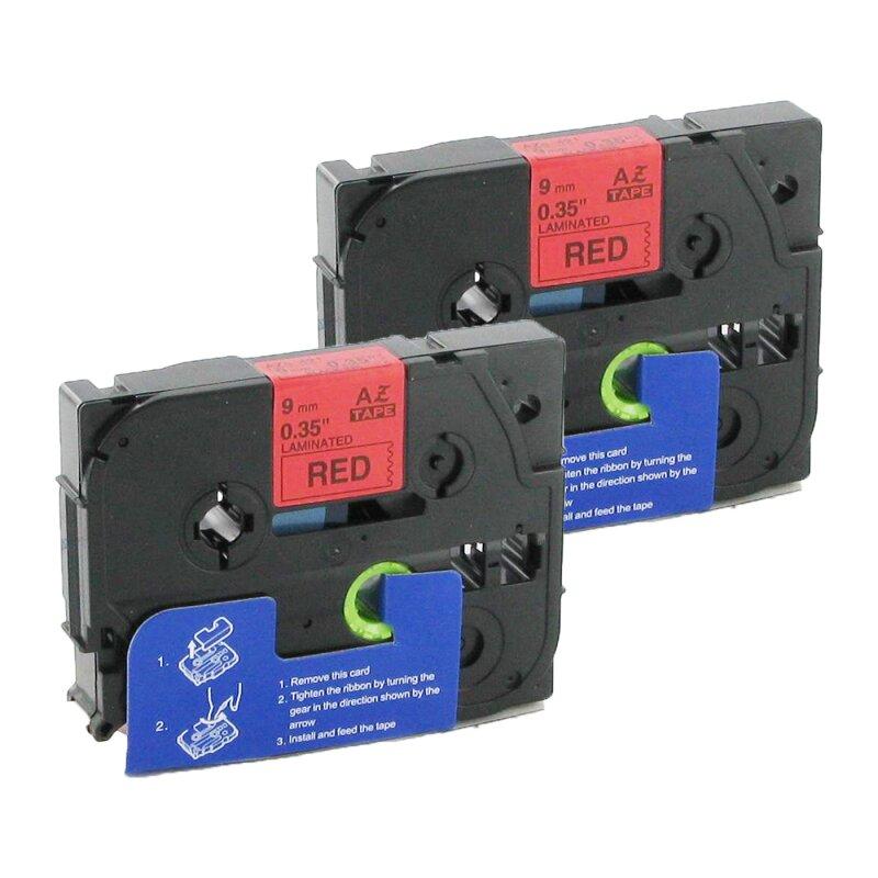 Bubprint 2x Schriftbänder kompatibel für Brother TZe-421 TZe421 schwarz auf rot 9mm SET