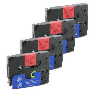 Bubprint 4x Schriftbänder kompatibel für Brother TZe-421 TZe421 schwarz auf rot 9mm SET