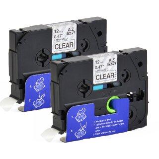 Bubprint 2x Schriftband kompatibel für Brother TZe-131 TZe131 bk/clear 12mm SET
