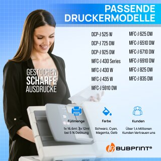 Bubprint 4 Druckerpatronen kompatibel für Brother LC-1220 / LC-1240