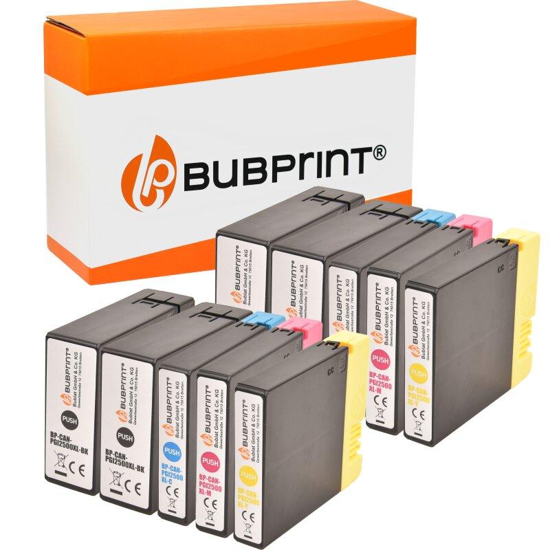 Bubprint 10 Druckerpatronen kompatibel für Canon PGI-2500 black cyan magenta yellow Maxify MB4050 MB5050