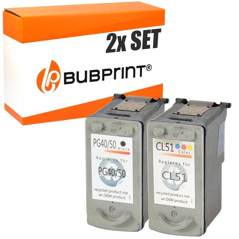 Bubprint 2 Druckerpatronen kompatibel für Canon PG-50 black CL-51 color