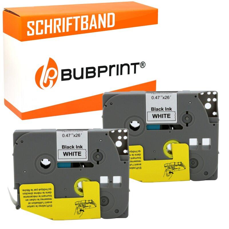 Bubprint 2x Schriftband kompatibel für Brother TZe231 TZe-231 schwarz/weiß 12mm 8m