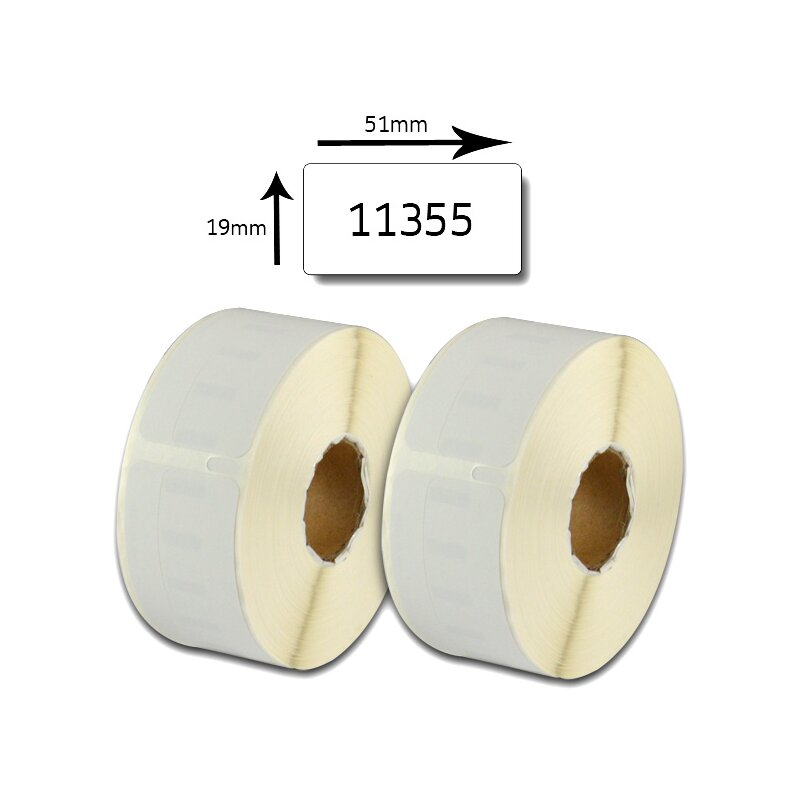 Bubprint 2x Etikettenrollen Set kompatibel für Dymo 11355 S0722550 51x19mm