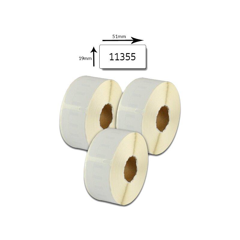Bubprint 3x Etikettenrollen kompatibel für Dymo 11355 S0722550 51x19mm SET