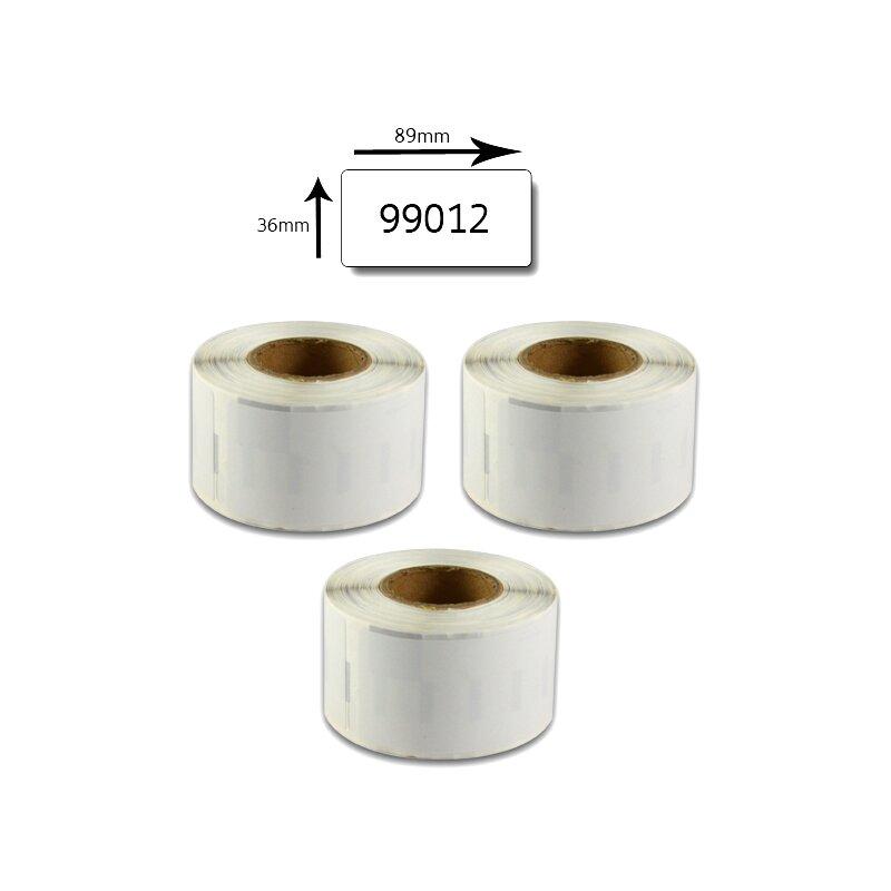 Bubprint 3x Rollen Etiketten kompatibel für Dymo 99012 S0722400 89x36mm SET