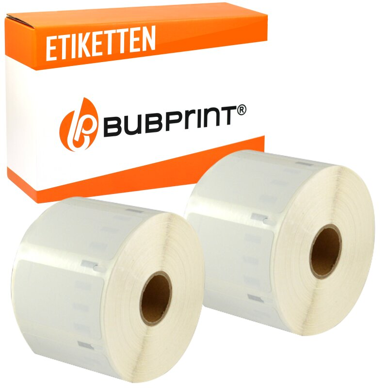 Bubprint 2x Rollen Etiketten kompatibel für Dymo 99012 S0722400 89x36mm SET