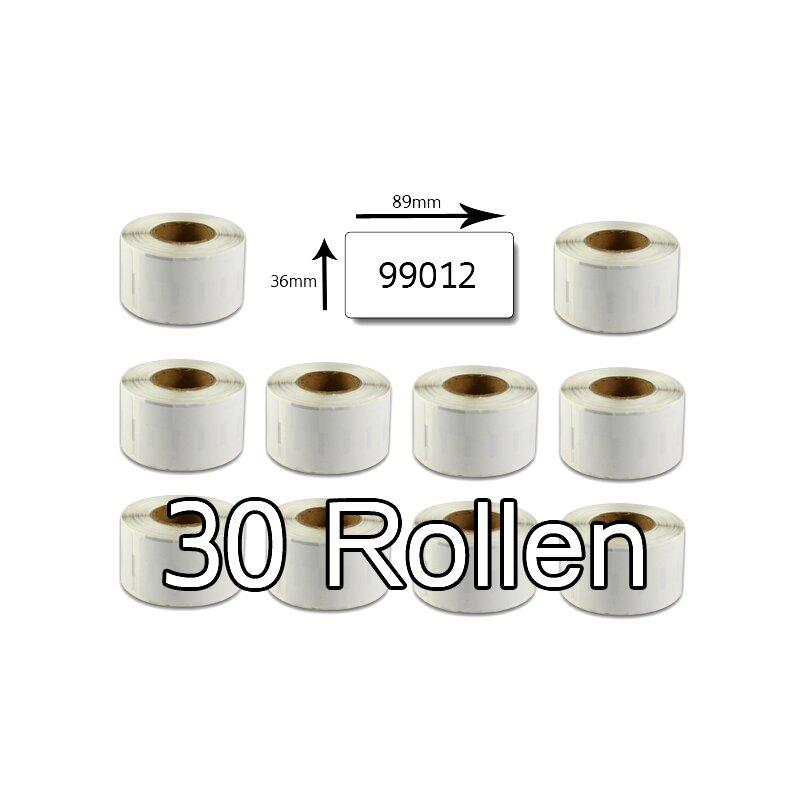 Bubprint 30x Rollen Etiketten kompatibel für Dymo 99012 S0722400 89x36mm SET
