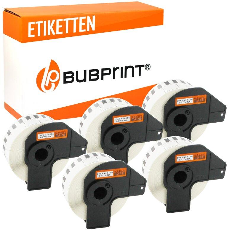 Bubprint 5x Rollen Etiketten kompatibel für Brother DK-22210 #2210 29mmx30,48m