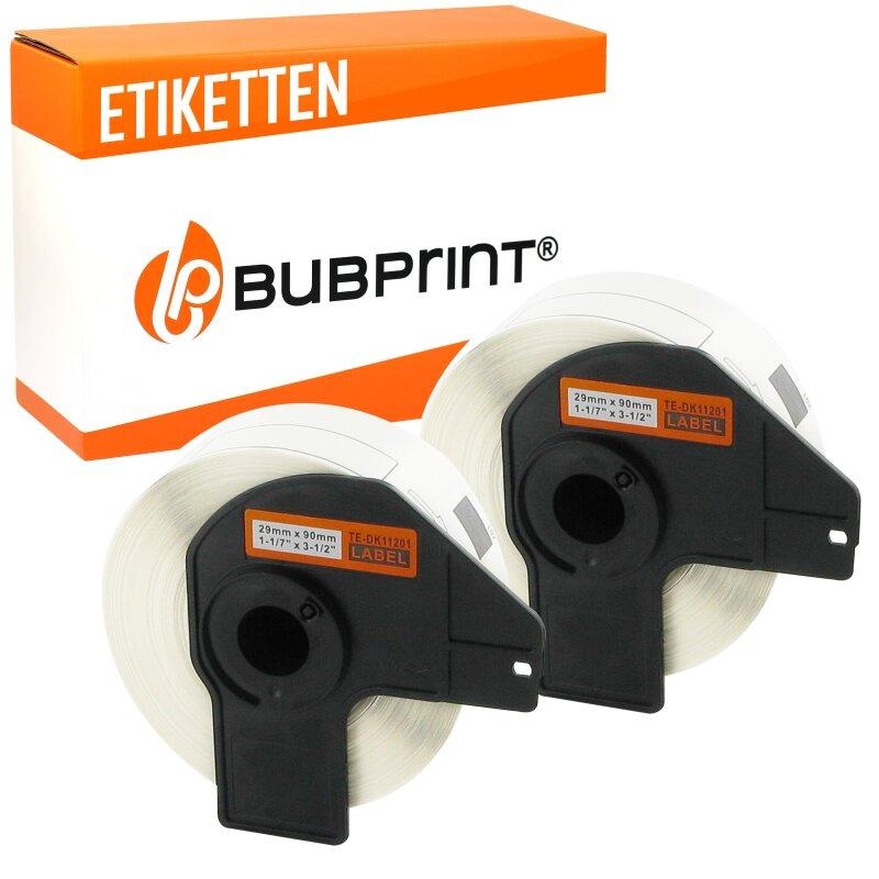 Bubprint 2x Rollen Etiketten kompatibel für Brother DK-11201 #1201 29mm x 90mm
