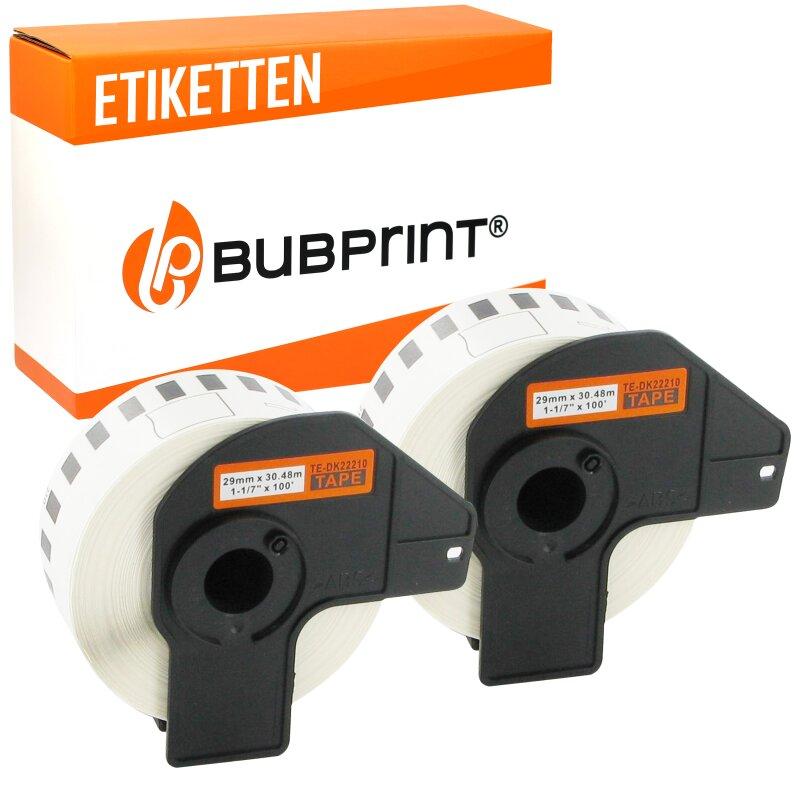 Bubprint 2x Rollen Etiketten kompatibel für Brother DK-22210 #2210 29mmx30,48m