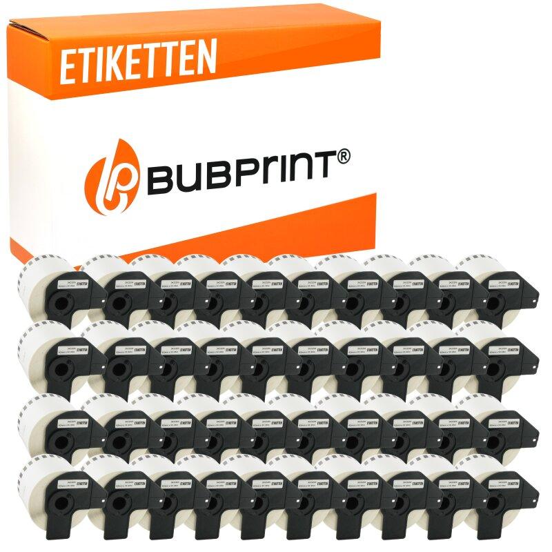 Bubprint 40x Rollen Etiketten kompatibel für Brother DK-22205 #2205 62mmx30,48m