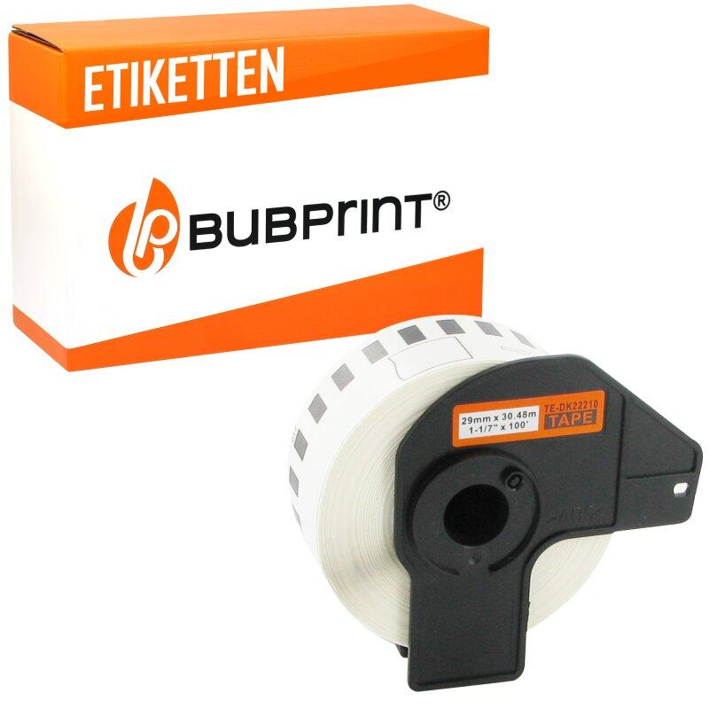 Bubprint Etiketten endlos kompatibel für Brother DK-22210 #2210 29mm x 30,48m