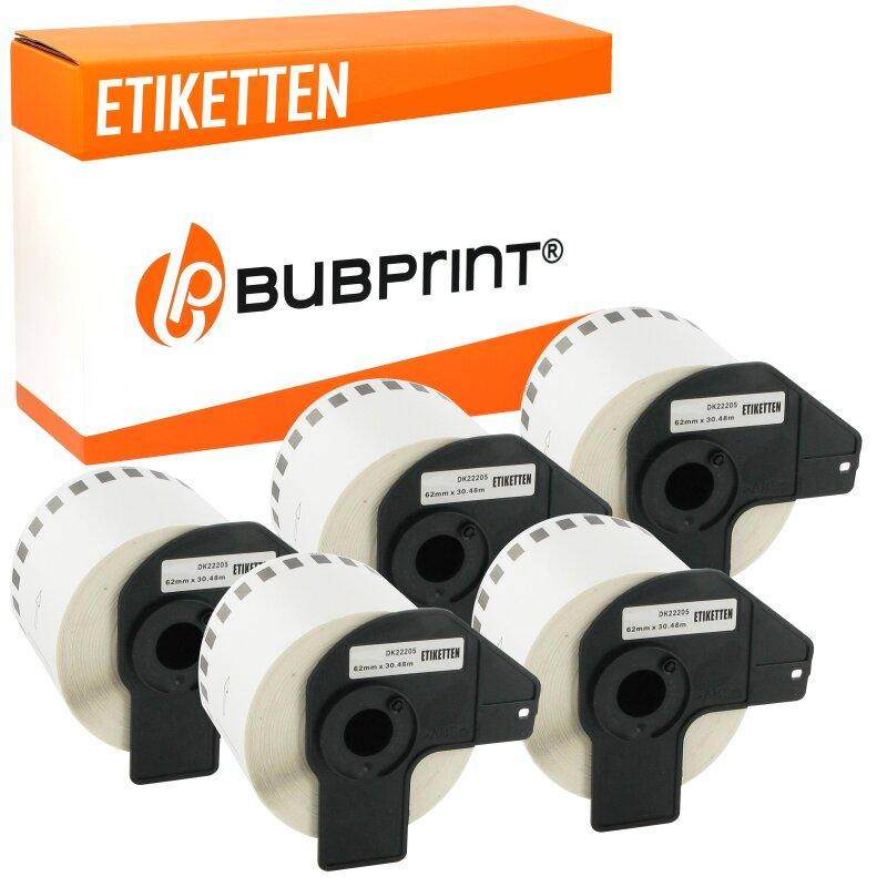 Bubprint 5x Rollen Etiketten kompatibel für Brother DK-22205 #2205 62mmx30,48m
