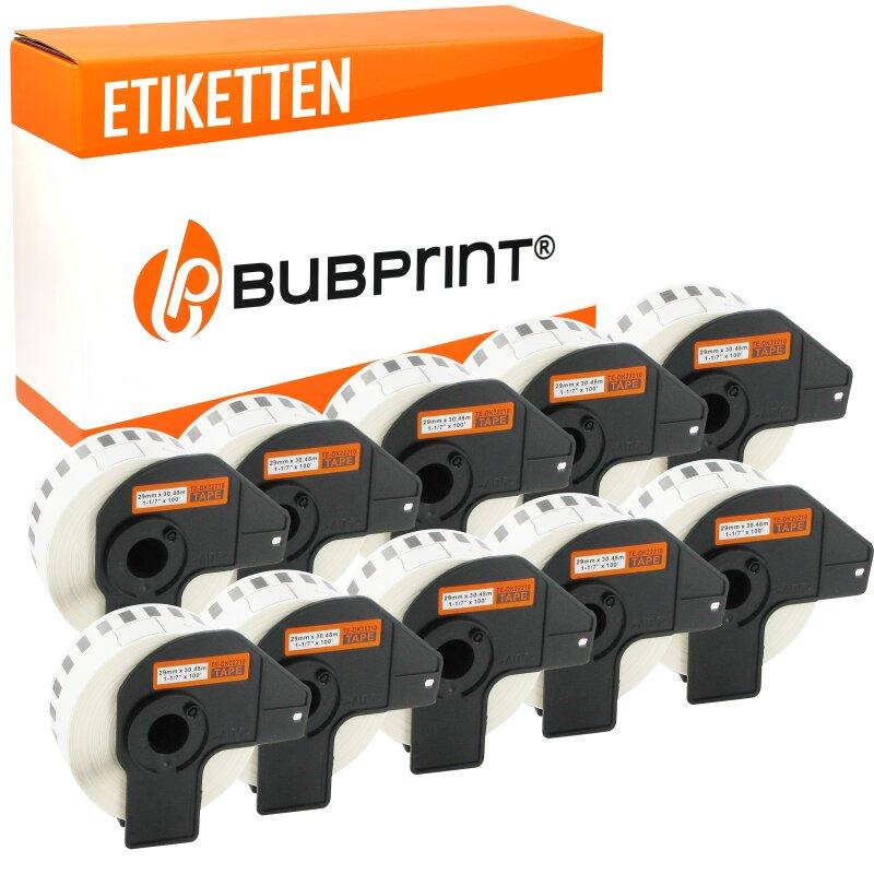 Bubprint 10x Rollen Etiketten kompatibel für Brother DK-22210 #2210 29mmx30,48m