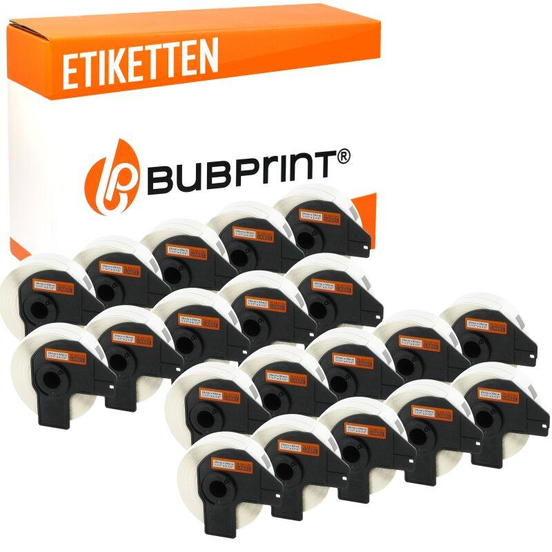Bubprint 20x Rollen Etiketten kompatibel für Brother DK-11201 #1201 29mm x 90mm