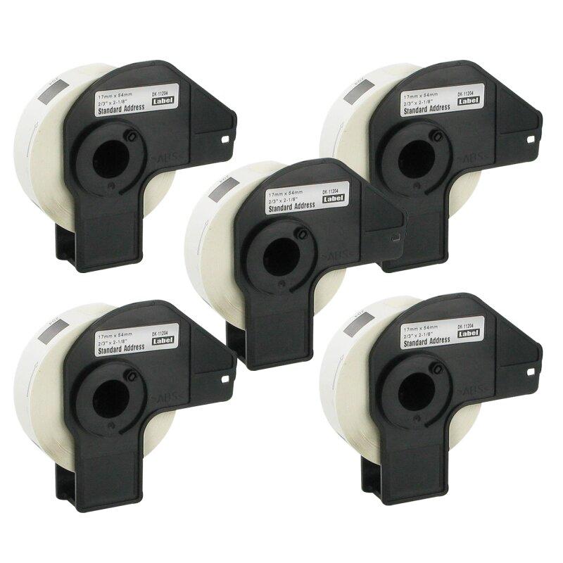 Bubprint 5x Rollen Etiketten kompatibel für Brother DK-11204 #1204 17mm x 54mm