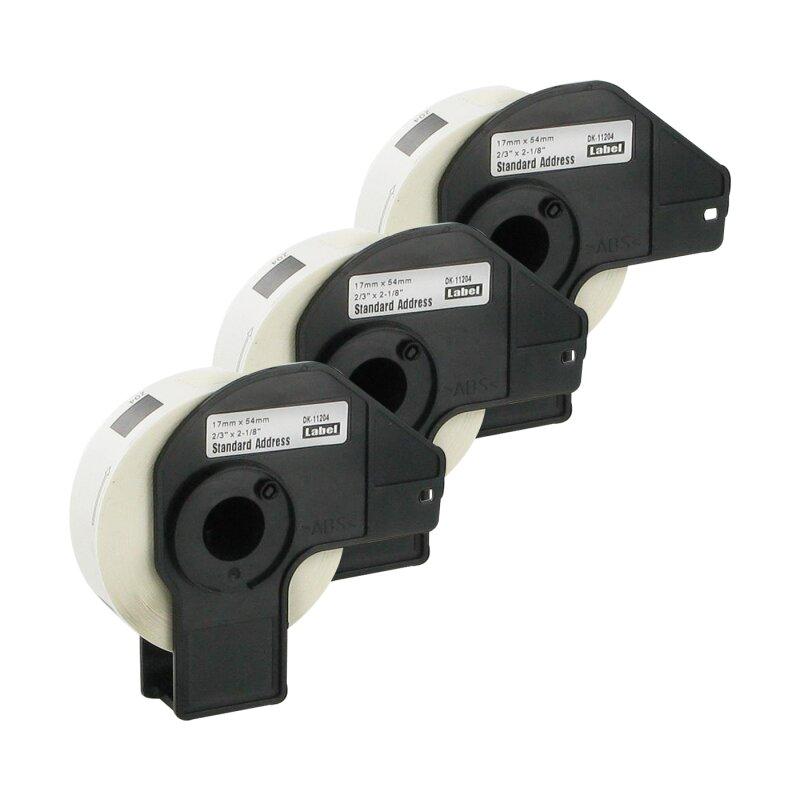 Bubprint 3x Rollen Etiketten kompatibel für Brother DK-11204 #1204 17mm x 54mm