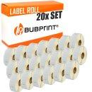 Bubprint 20x Etikettenrollen kompatibel für Dymo...