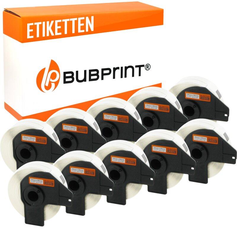 Bubprint 10x Rollen Etiketten kompatibel für Brother DK-11201 #1201 29mm x 90mm