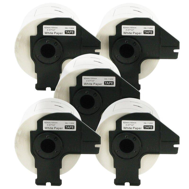 Bubprint 5x Rollen Etiketten kompatibel für Brother DK-11202 #1202 62mm x 100mm